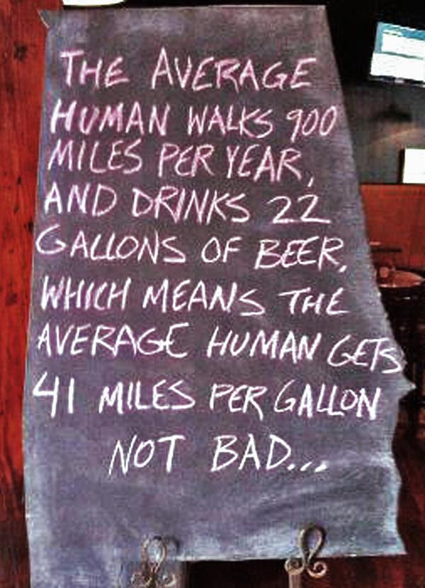 41 Miles Per Gallon on Beer |
